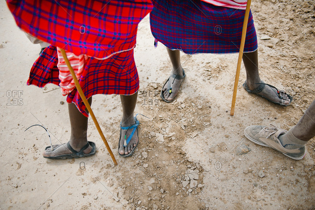Feet of Tanzanians in traditional dress