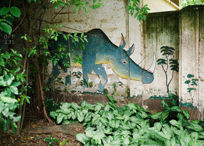 Rhinoceros drawing on Tanzanian wall