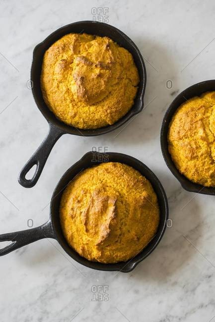 Cornbread loaves in skillets