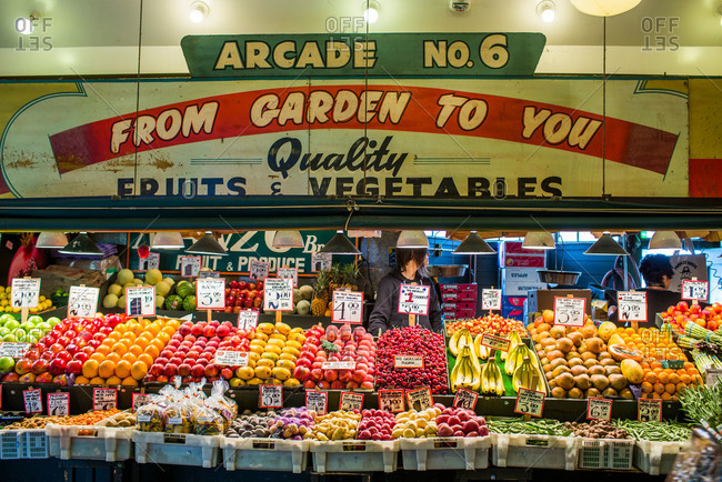 Seattle, WA, USA - May 20, 2013: A fruit stand with colorful produce at Pike Place Market in Seattle, WA