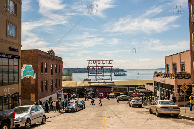 Seattle, WA, USA - May 20, 2013: The exterior of Pike Place Market in Seattle, WA