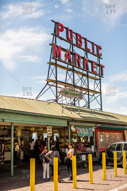 Seattle, WA, USA - May 20, 2013: The entrance to Pike Place Market in Seattle, WA