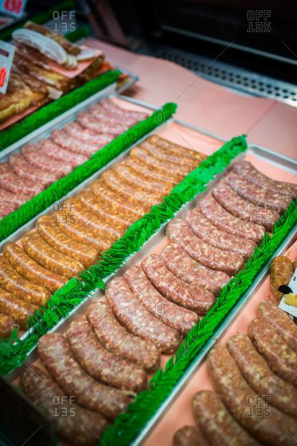 Fresh sausage at Pike Place Market in Seattle, WA
