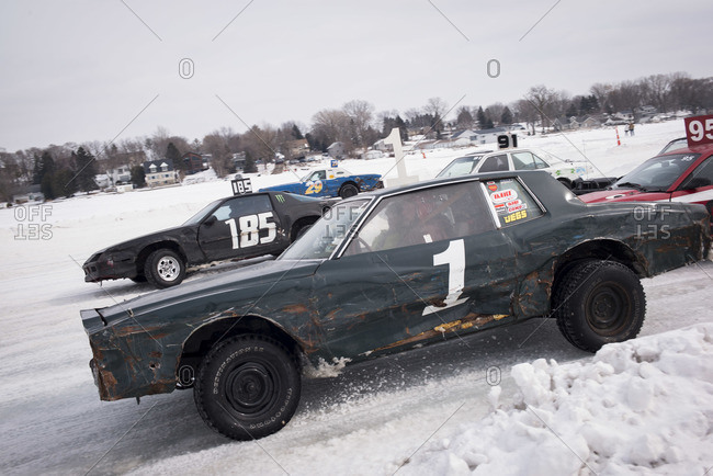 Hustisford, WI, USA - March 1, 2015: Stock car race on frozen lake
