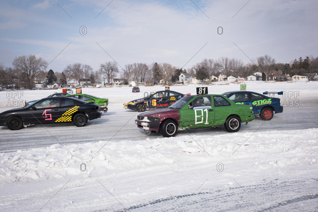 Hustisford, WI, USA - March 1, 2015: Stock car race on winter lake