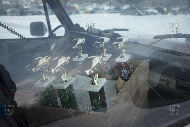 Hustisford, WI, USA - March 1, 2015: Trophies for winter lake race in car
