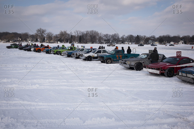 Hustisford, WI, USA - March 1, 2015: Cars at starting line for winter lake race