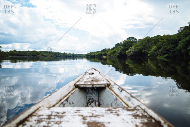 Bow of a wooden boat on the Rio Negro tributary of the Amazon River in Brasil