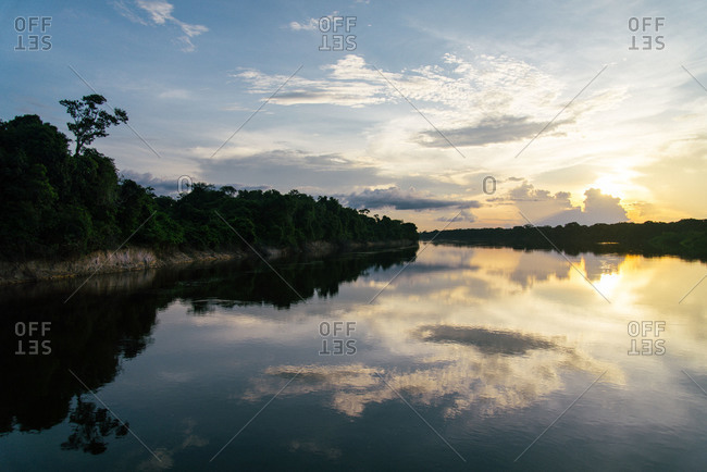 Sunset in Rio Negro in the Amazon
