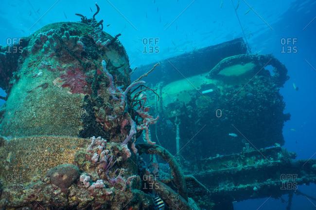 Upward angle looking at the Aquarius Habitat at Conch Reef