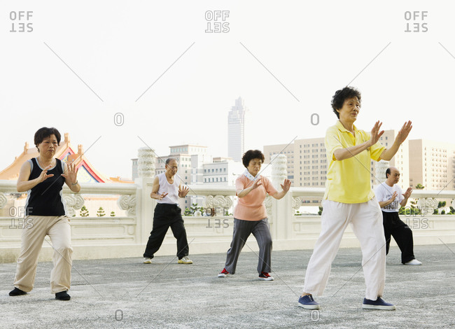 Taiwan - June 19, 2008: Groups of people Chinese Yuan Ji Dance exercise daily at Taipei's Chiang Kai-shek Memorial Hall in Taipei