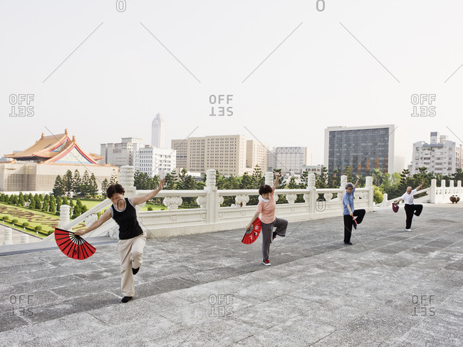 Taiwan - June 19, 2008: Groups of people Chinese Yuan Ji Dance exercise at Taipei's Chiang Kai-shek Memorial Hall in Taipei