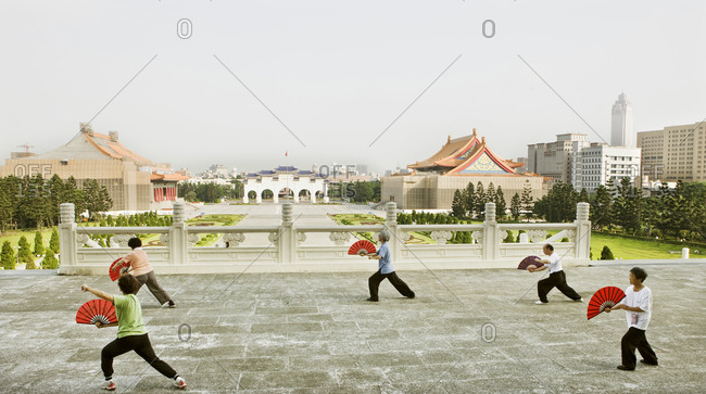 Taiwan - June 19, 2008: Groups of people exercise daily at Taipei's  Chiang Kai-shek Memorial Hall