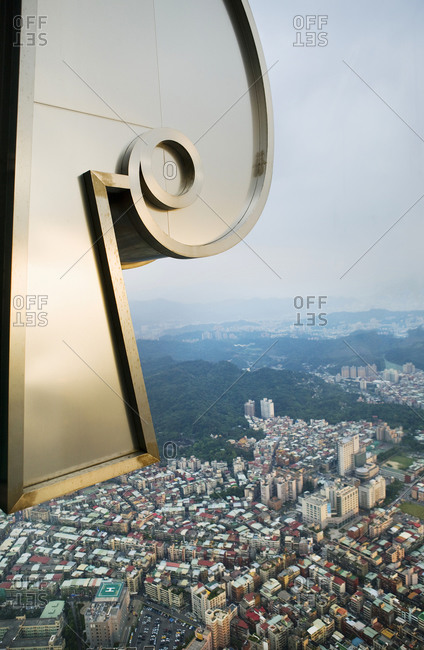 View of Taipei from the 88th floor of Taipei 101 which is a 101-floor landmark skyscraper located in Xinyi District in Taipei
