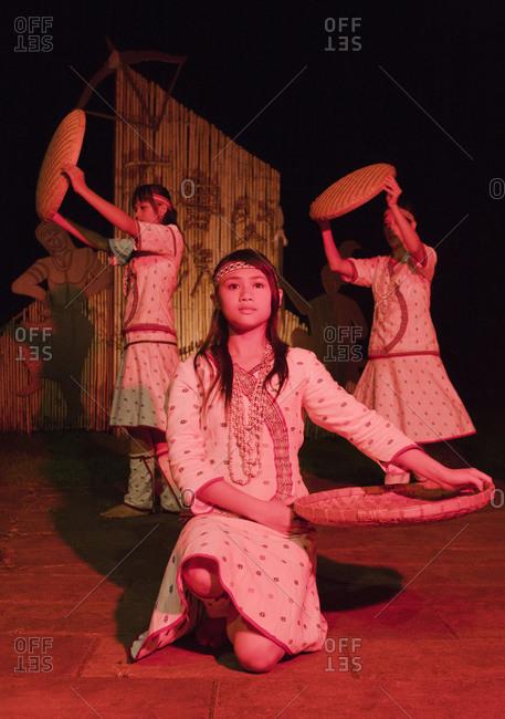 Taiwan - June 21, 2008: Aboriginal tribal dancing at the Leader Bulowan Hotel, Village Taroko, Taroko Gorge