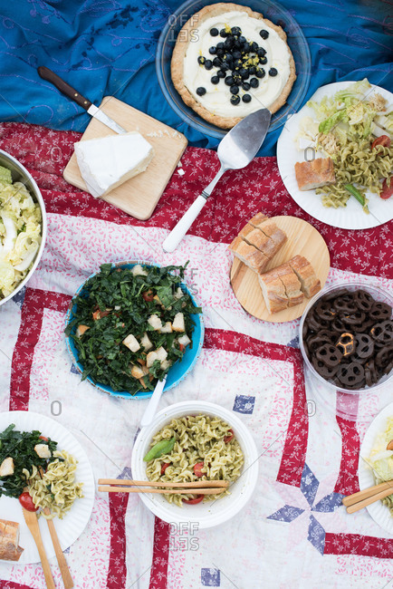 Picnic spread on a quilt