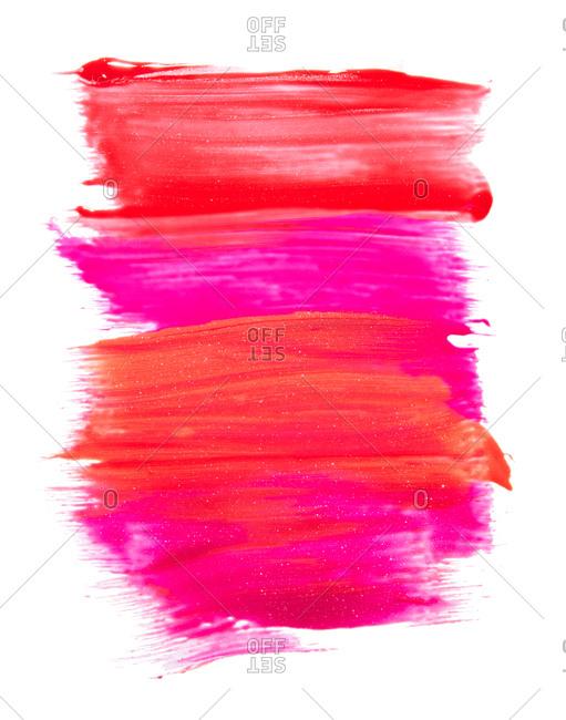 Smears of pink lip gloss