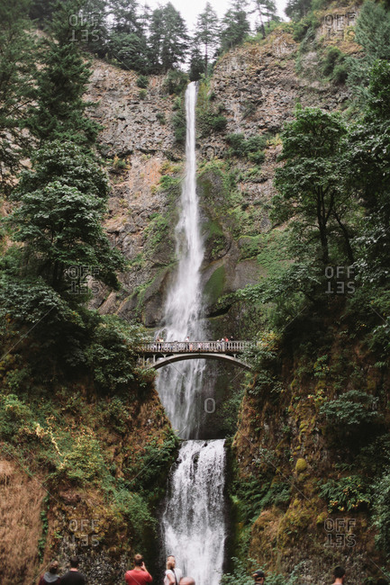 A footbridge at Multnomah Falls in Oregon