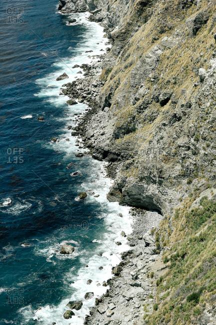 A rocky seaside cliff
