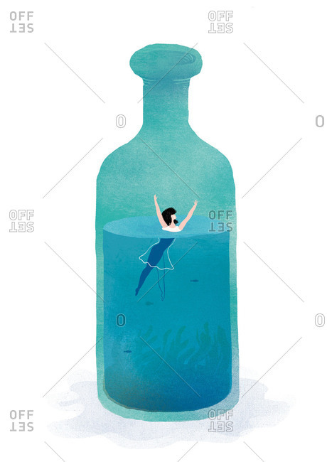 Woman in water inside a bottle