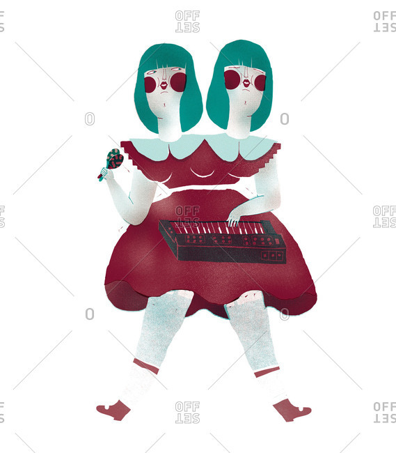 Two-headed woman playing a keyboard
