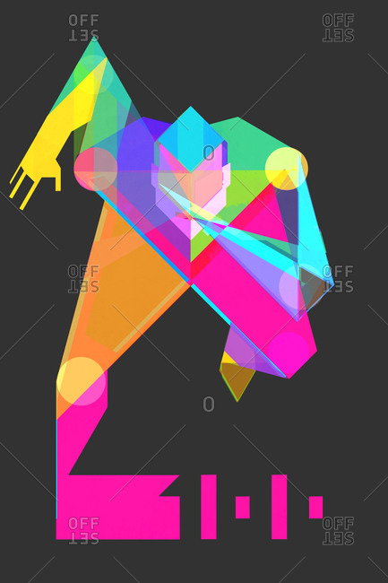 Man made of geometric shapes running