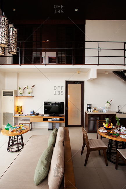 Discovery Shores Resort, Boracay, Philippines - February 20, 2013: Loft hotel room in Philippines