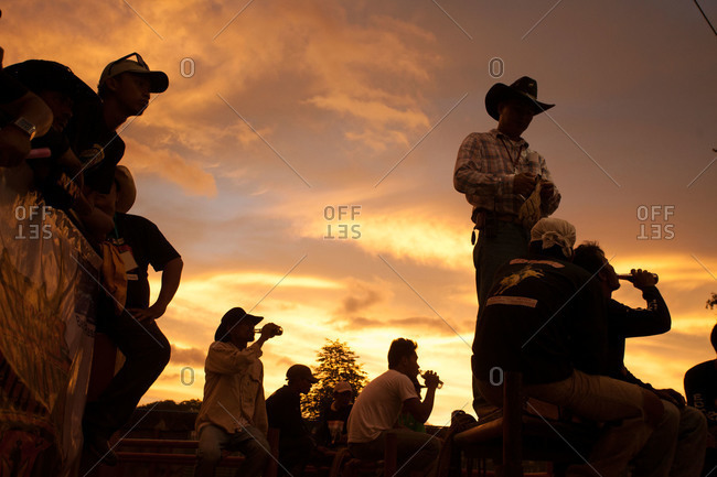 Masbate, Philippines - April 11, 2013: Rodeo spectators in the Philippines
