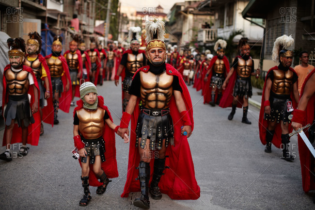 Marinduque, Philippines - March 27, 2013: Marchers in Holy Week procession, Philippines