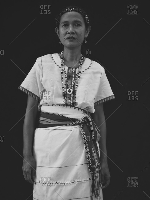 Bukidnon, Philippines - July 20, 2013: Tingguian woman in traditional dress, Philippines