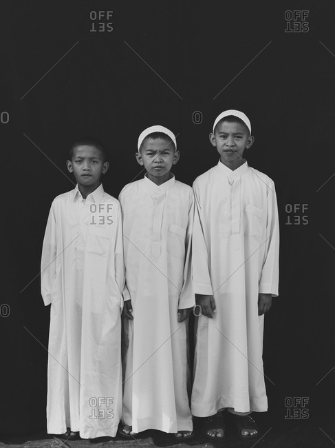 Bukidnon, Philippines - August 7, 2013: Muslim boys in traditional dress, Philippines
