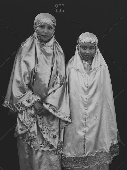 Bukidnon, Philippines - August 7, 2013: Muslim women in traditional dress, Philippines