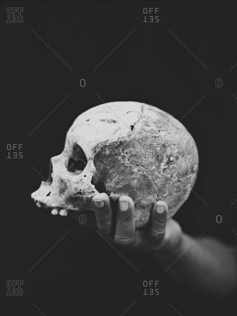 Skull in faith healer's hand, Philippines