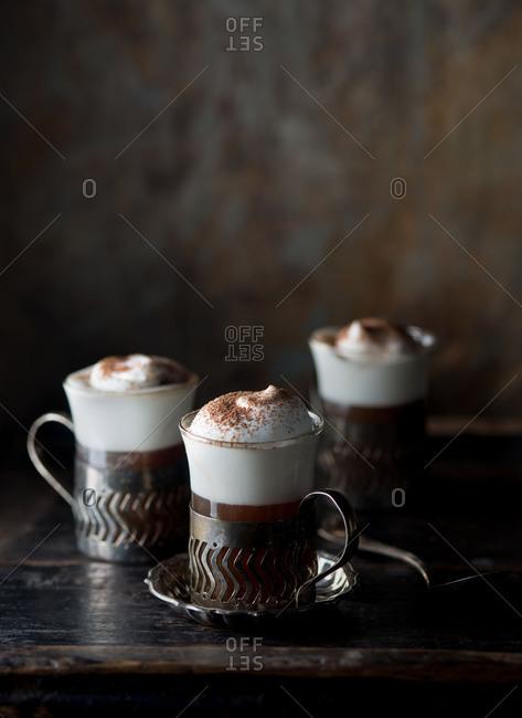 Irish coffee on dark background