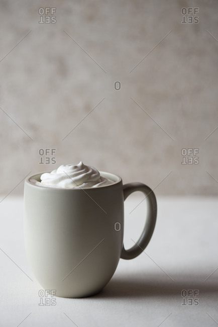 Mug of hot chocolate with whipped cream