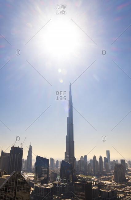 Dubai, United Arab Emirates - December 5, 2014: Burj Khalifa skyscraper during the day