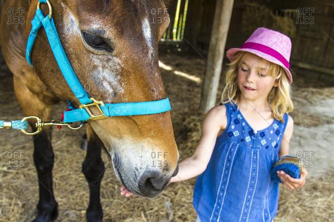 Little girl stroking horse, Corfu
