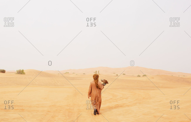 A man with a pet falcon walks through the desert near Dubai, UAE