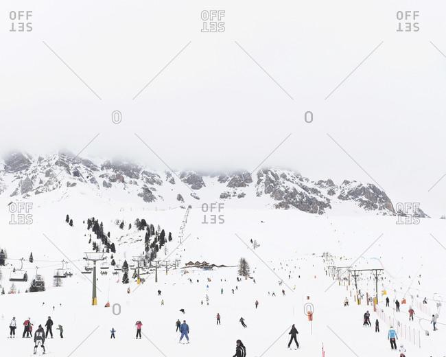 People skiing Trentino Alto Adige, Italy