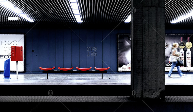 Budapest, Hungary - May 10, 2012: Bench on a metro station platform