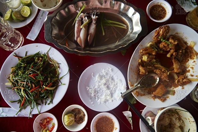 Overhead view of meal in Vietnamese restaurant