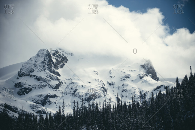 A large snowy mountain in Joffre Lakes Provincial Park, Canada