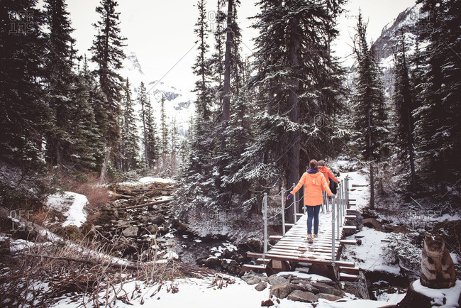 Hikers cross a footbridge in Joffre Lakes Provincial Park, Canada