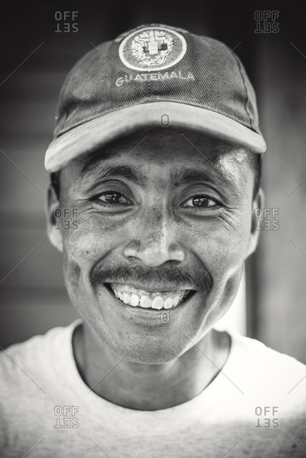 Guatemala - May 5, 2015: A portrait of a man in a baseball cap in Guatemala