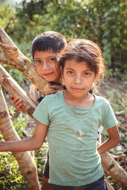 Guatemala - May 6, 2015: A young Guatemalan girl and her brother