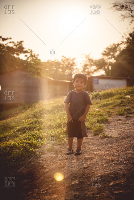 Guatemala - May 6, 2015: A little boy in a remote Guatemalan village