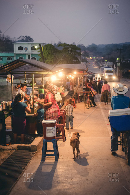 Guatemala - May 8, 2015: Food vendors set up on a street in Guatemala