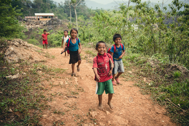 Guatemala - May 12, 2015: Students walk home from school in Guatemala