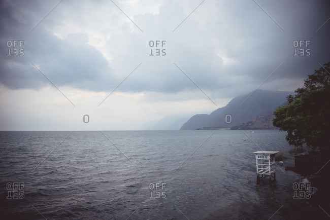 Lago Atitlan during a storm in Guatemala