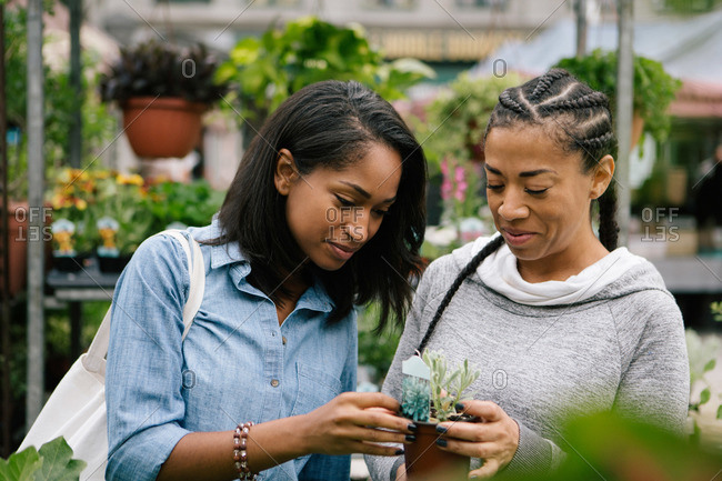 Two women look at a plant in a garden store